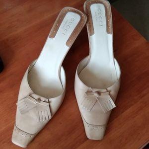 Gucci Cream Tassle Leather Mules Heels 10